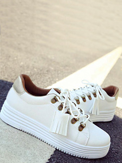 White and Gold Leather Round Toe Lace Up Rubber Shoes