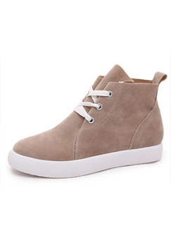 Beige Suede Round Toe Lace Up Boots