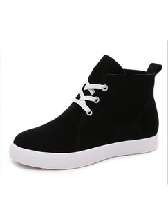 Black Suede Round Toe Lace Up Boots