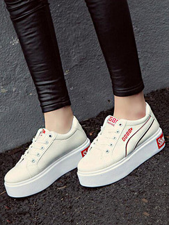 White and Red Leather Round Toe Lace Up Rubber Shoes