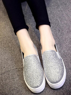 Silver Nylon Round Toe Rubber Shoes