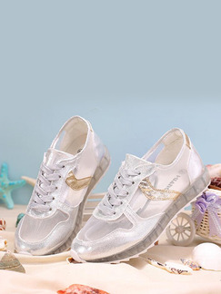 Gold and Silver Nylon Round Toe Lace Up Rubber Shoes