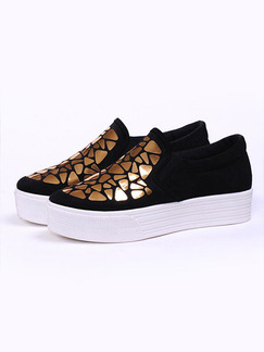 Black White and Gold Canvas Round Toe Rubber Shoes