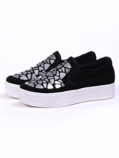 Black White and Silver Canvas Round Toe Rubber Shoes
