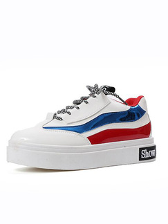 Blue Red and White Patent Leather Round Toe Lace Up Rubber Shoes