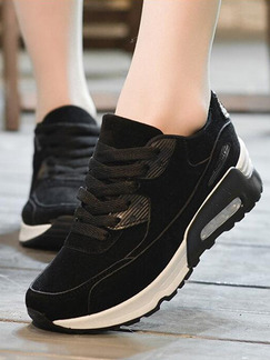 Black Nylon Round Toe Lace Up Rubber Shoes