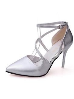 a15342ba0f7 Silver Leather Pointed Toe Ankle Strap High Heels 9.5CM Heels ...