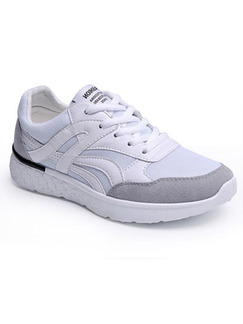 White and Grey Nylon Round Toe Lace Up Rubber Shoes