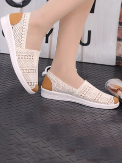 Cream and Apricot Canvas Round  Toe Flats