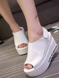 White Leather Peep Toe Platform Ankle Strap 8CM Wedges