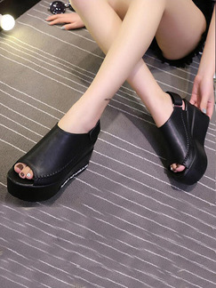 Black Leather Peep Toe Platform Ankle Strap 8CM Wedges