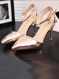 Gold Patent Leather Pointed Toe Ankle Strap High Heel 10CM Heels