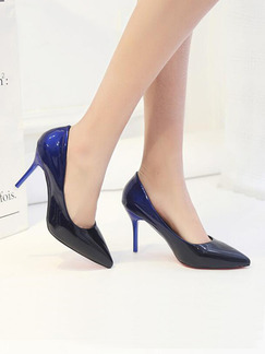 Black and Blue Patent Leather Pointed Toe Pumps High Heel 9CM Heels