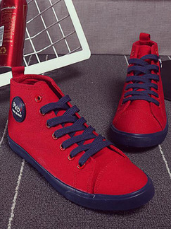 Red and Blue Canvas Round Toe Lace Up Rubber Shoes