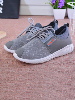 Grey Canvas Round Toe Lace Up Rubber Shoes