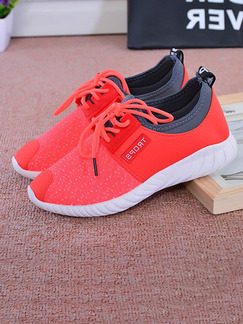 Red Canvas Round Toe Lace Up Rubber Shoes