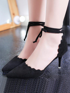 Black Suede Pointed Toe Strappy High Heel 7.5CM Heels