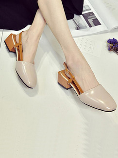 Apricot and Beige Leather Pointed Toe Ankle Strap Low Heel Chunky Heel 4CM Heels