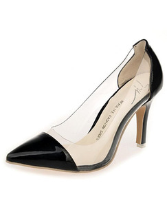 Black Patent Leather Pointed Toe Pumps High Heel 8.5CM Heels