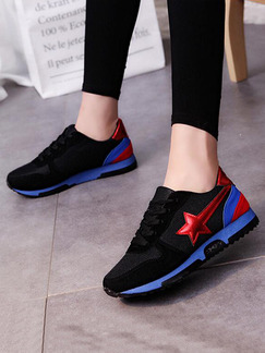 Black Blue and Red Nylon Round Toe Lace Up Rubber Shoes