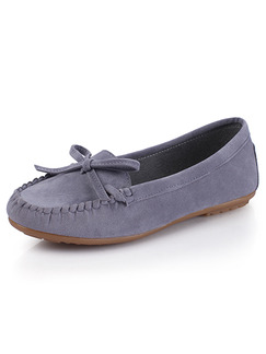 Grey Suede Round Toe Loafer Flats