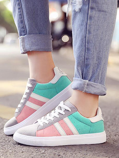 Colorful Suede Round Toe Lace Up Rubber Shoes