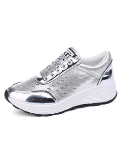 Silver and White Patent Leather Round Toe Lace Up Rubber Shoes