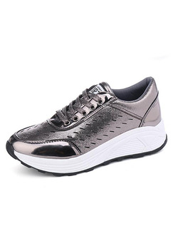 Silver Patent Leather Round Toe Lace Up Rubber Shoes