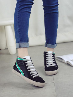 Black Green and Silver Leather Round Toe Lace Up Rubber Shoes Boots