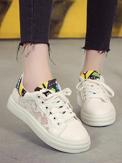 White Colorful Leather Round Toe Lace Up Rubber Shoes
