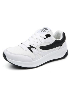 Black and White Leather Round Toe Lace Up Rubber Shoes