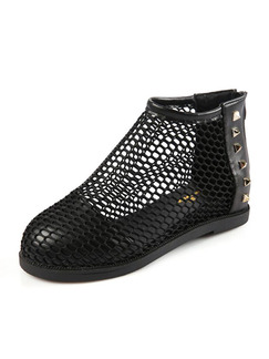 Black Nylon Round Toe Sandals Flats Boots