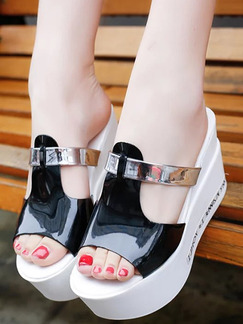 Black White and Silver Leather Open Toe 9.5CM Wedges