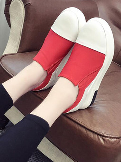 Red and White Canvas Round Toe Rubber Shoes