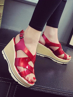 Red Beige and White Leather Open Toe Platform Ankle Strap 8.5CM Wedges