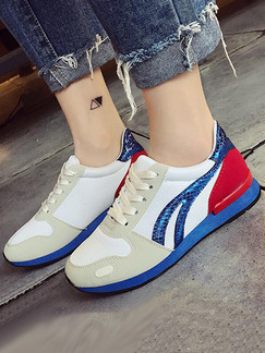 Red Blue and White Nylon Round Toe Lace Up Rubber Shoes