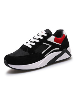 Black White and Red Nylon Round Toe Lace Up Rubber Shoes