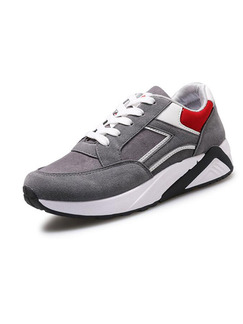 Grey White and Red Nylon Round Toe Lace Up Rubber Shoes