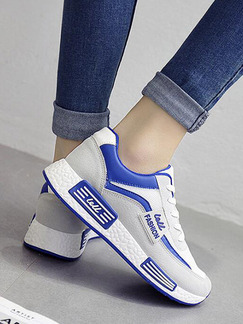 Grey White and Blue Nylon Round Toe Lace Up Rubber Shoes