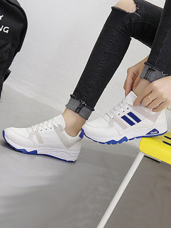White and Blue Leather Round Toe Lace Up Rubber Shoes