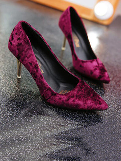 Purple Suede Pointed Toe Pumps High Heels 8.0CM Heels