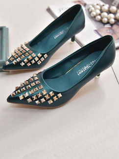 Blue Green Leather Pointed Toe Pumps Low Heel 3.5CM Heels