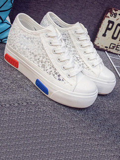 White Red and Blue Canvas Round Toe Lace Up Rubber Shoes