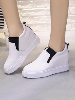 Black and White Leather Round Toe Rubber Shoes Wedges