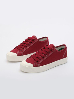 Red and White Canvas Round Toe Lace Up Rubber Shoes