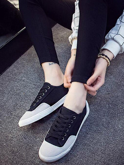 Black Grey and White Canvas Round Toe Lace Up Rubber Shoes