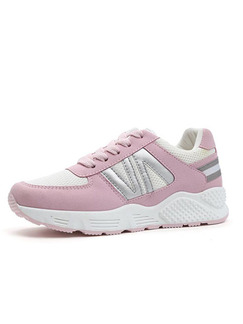 Pink Silver and White Leather Round Toe Lace Up Rubber Shoes