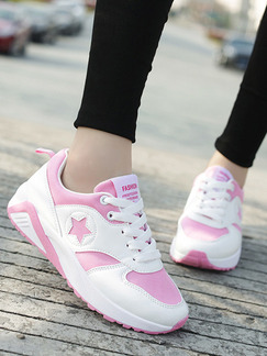 Pink and White Leather Round Toe Lace Up Rubber Shoes