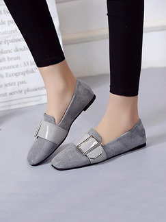 Grey Suede Round Toe Flats