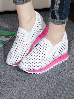 White and Pink Leather Round Toe Rubber Shoes